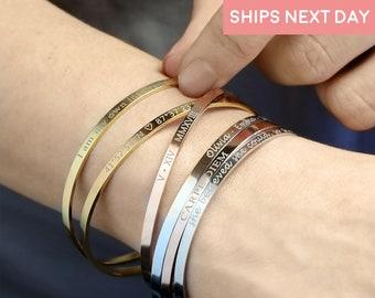 Personalized Gift for Women Custom Coordinates Engraved Bracelet Personalized Bracelet Handmade Jewelry Bracelet Friendship Bracelet -DFBR