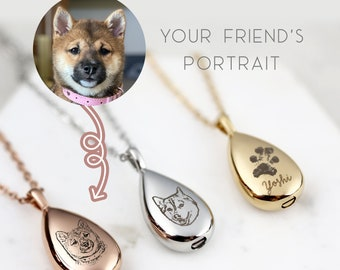 Cremate Jewelry Custom Pet Portrait Pet Urn Necklace Cremation Necklace for Ashes Paw Print Dog Memorial Gift Personalized Gift  - URN-AP
