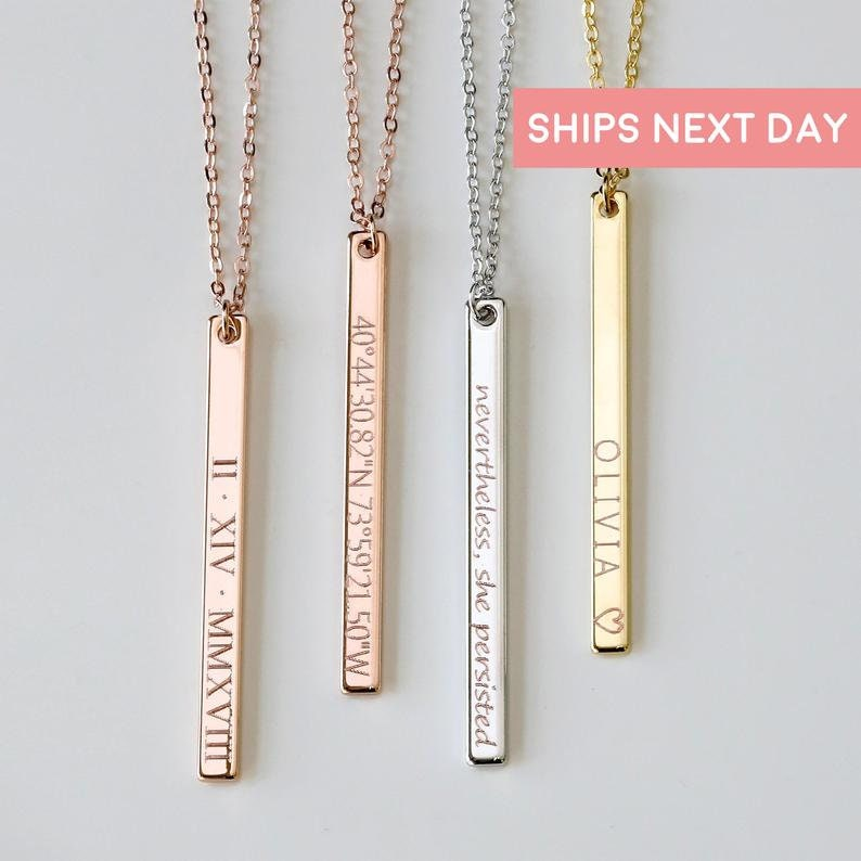 Personalized Necklaces For Women Necklace Custom Necklace Engraved Necklace Anniversary Gift Personalized Gift Coordinate Necklace - 13N photo