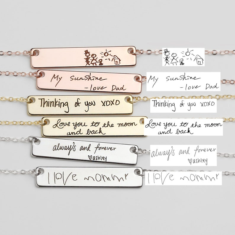 Gold Handwriting Necklace Custom Handwriting Jewelry Gifts for image 0