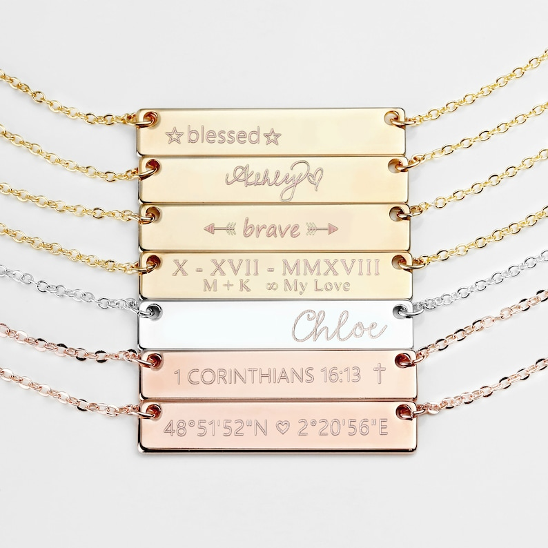 Custom Name Necklace Personalized Bar Necklace Gift For Women image 0