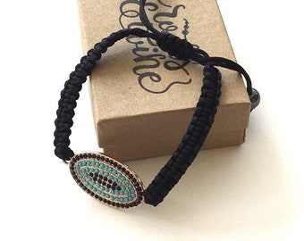 Friendship Bracelet / Mason Line  Bracelet / Boho Jewelry / Hippie Jewelry / Turquoise / Black / Pulley Bracelet