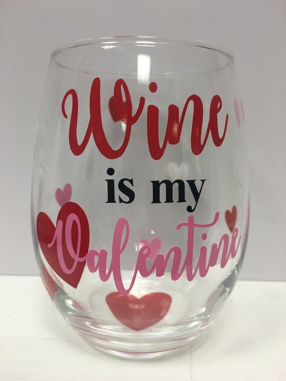 Valentine S Day Wine Glass Happy Valentine S Day Etsy