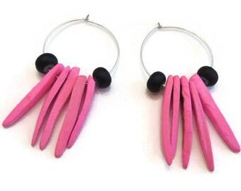 Spike Earrings, Pink Spike Earrings, Pink Wood Earrings, Pink Hoop Earrings, Pink and Black Hoop Earrings, Coconut Shell Earrings