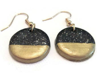 Gold Dipped Earrings, Black and Gold Earrings, Black Glitter Earrings, Gold Painted Earrings, Shimmer Earrings, Glitter Earrings Gold