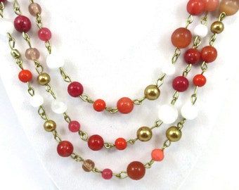 Fall Colored Necklace, Fall Necklace, Long Necklace, Long Fall Necklace, Linked Necklace, Layered Necklace, Long Layered Necklace Gold