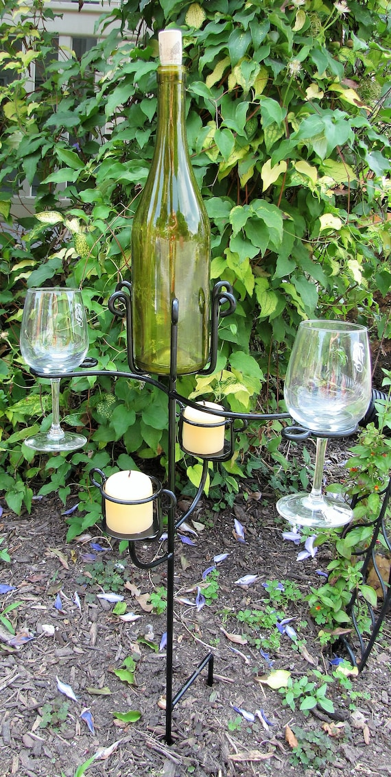 Wine Glasscandle And Wine Bottle Holder Made Of Wrought Iron Etsy
