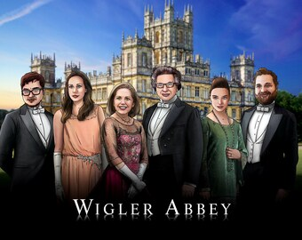 DOWNTON ABBEY Custom Portrait, Downton Abbey Illustration, TV, Family & Friends, Grantham, Crawley, Highclere Castle