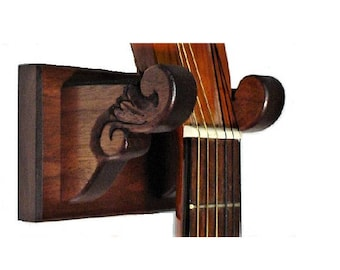 Hand Carved Walnut Wood Guitar Hanger Classy Wall Mount Display
