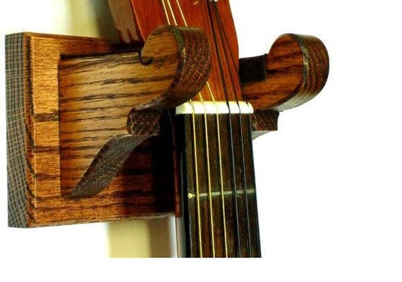 Oak Wood Guitar Hanger Classy Wall Mount Display Choice Of