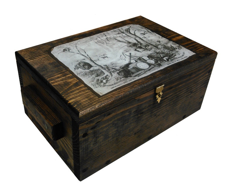 Rustic Wooden Hunting Box Ammo Crate Pistol Safe Hunting Scene