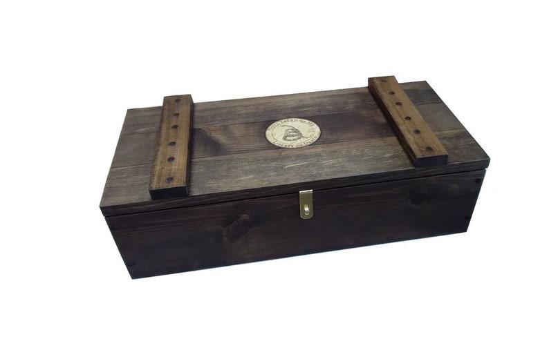 Rustic Wooden Ammo Box Gadsden Gun Accessories Storage Crate