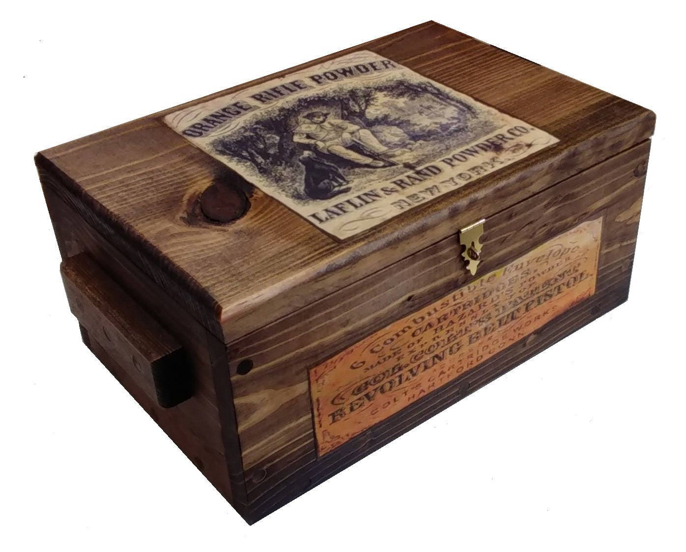 Rustic Wooden Hunting Box Ammo Crate Pistol Safe With Powder Ad