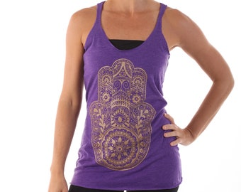 Purple Gold Hamsa Racer Back Tank Top