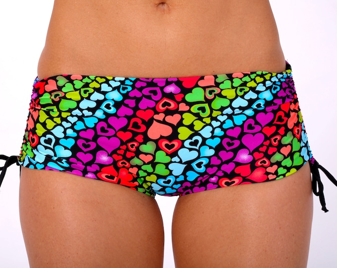 Bikini Shorts in Rainbow Hearts