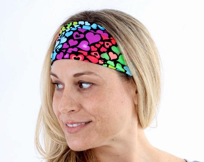 Fitness Headband, Yoga Headband, Work Out Headband, Running Headband, Fashion Headband, Get 4 For 20 Dollars in Rainbow Hearts