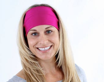 Women and girls pink yoga, fitness, running and workout headband, in Fuchsia Pink