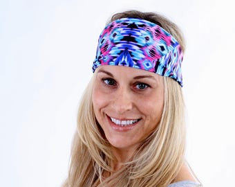 Women and girls geometric print yoga, fitness, running and workout headband in Arabella