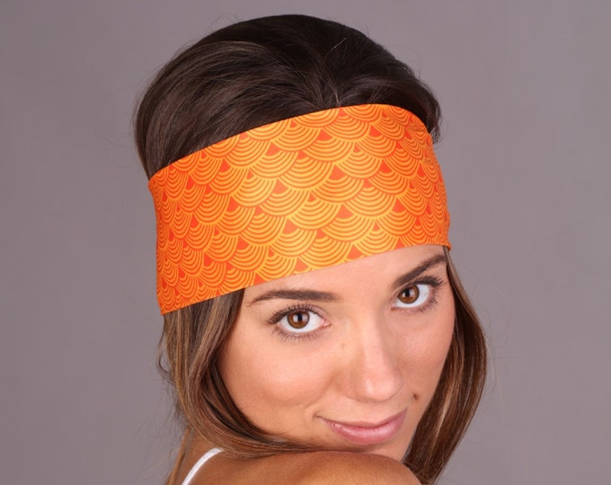 Women and girls orange yoga, fitness, running and workout headband, in sunny Get 4 for 20 Dollars