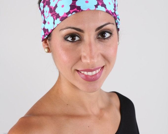 Women and girls floral yoga, fitness, running and workout headband, in Poppy Blue Get 4 for 20 Dollars