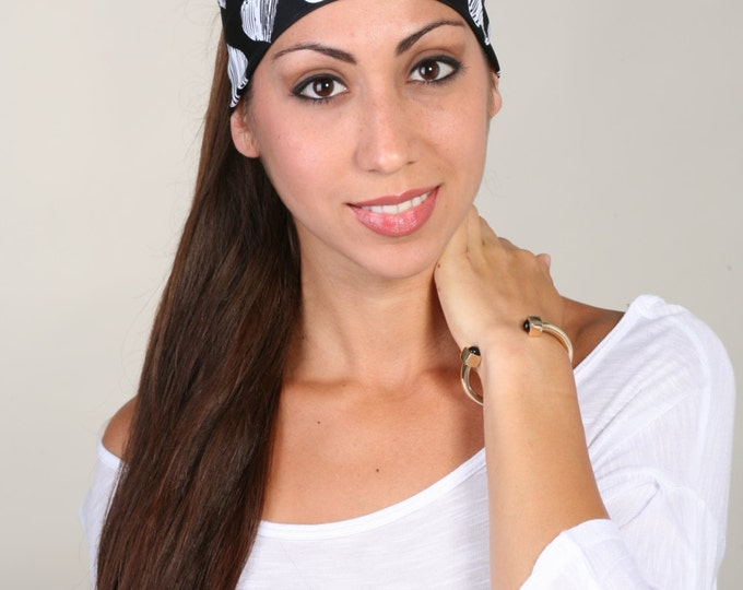Women and girls black and white yoga, fitness, running and workout headband, in Breaking Hearts Get 4 for 20 Dollars