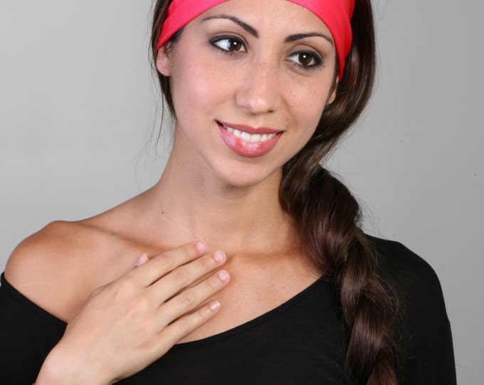 Women and girls pink yoga, fitness, running and workout headband, in Cherry Pop Get 4 for 20 Dollars