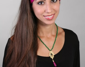 Women and girls hot pink yoga, fitness, running and workout headband, in Fuchsia Get 4 for 20 Dollars