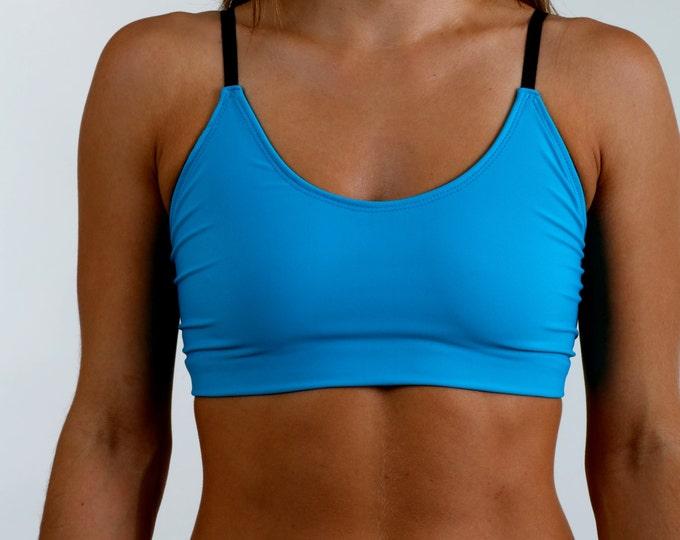 Blue Sports Bra, Cage Bra, Bralette, Style #016 in Tamara Teal
