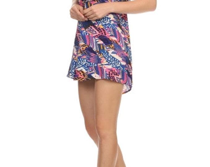Women's Mini Dress, Summer Dress, Print Dress, Aztec Print Dress, Blue Dress,  in Camilla