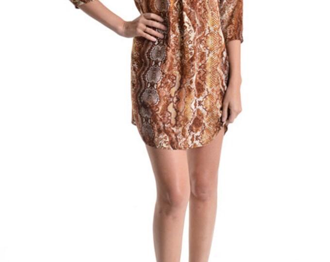 Women's Mini Dress, Summer Dress, Snake Skin Print Dress, Paisley Print Dress, Dress, Brown Dress, A Line Dress, Short dress in Sheba