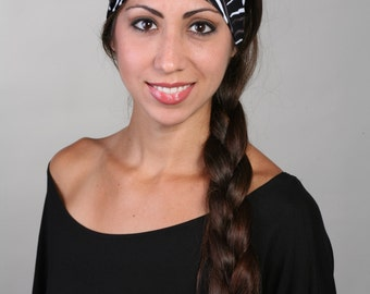 Women and girls black and white yoga, fitness, running and workout headband in Charcoal Swirl