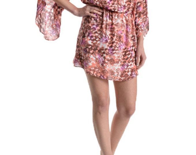 Women's Mini Dress, Summer Dress, Print Dress, Coral Dress, Round Neck Dress,  in Calliope