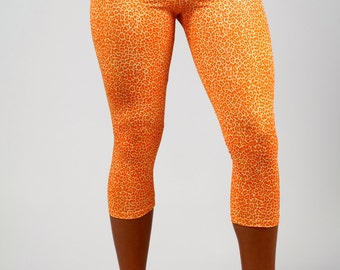 Capri Orange Leopard Print Leggings, Legging in Olivia