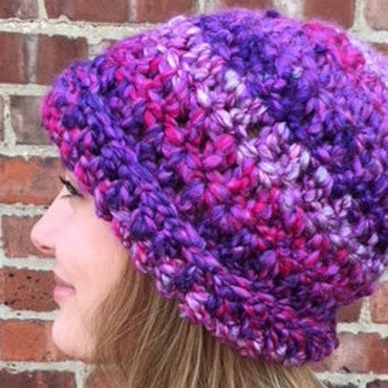 Hip Warm Hippie Textured Yarn Shades of Purple Bumpy Yarn Crocheted Beanie Hat Striped Boho Bohemian Thick Crocheted Hat Purple