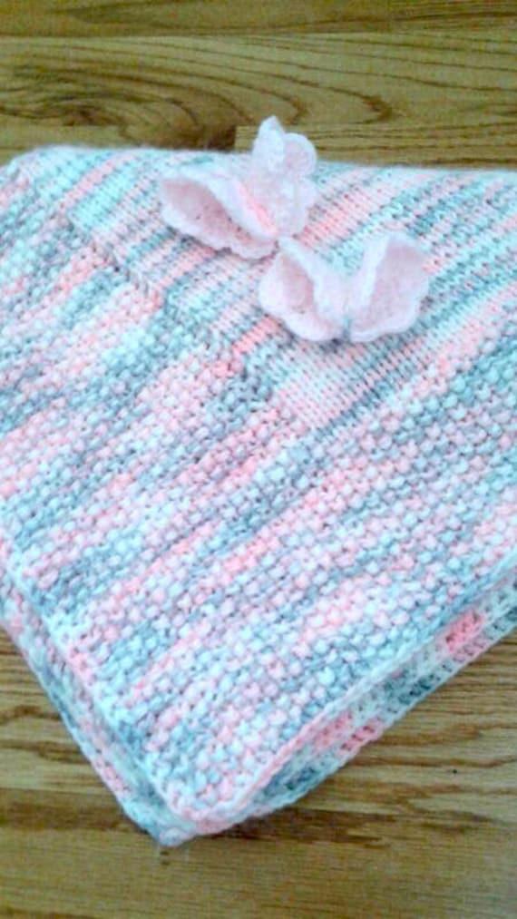 Pink Gray Knit Baby Blanket Handmade Baby Blanket