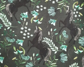 Kittybeanie jersey with silk lining *Special edition dark green with unicorns*