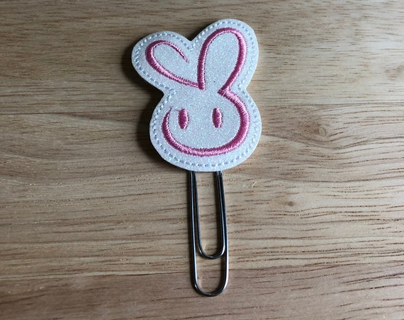 Glitter Vinyl Pink Bunny Planner Clip. Easter Planner Clip. Bunny Planner Clip. Happy Easter Planner Clip. Spring Planner Clip.