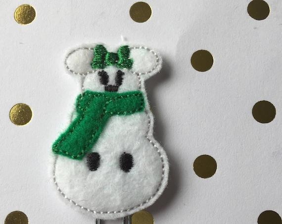 Ms. Snow Mouse planner Clip/Planner Clip/Bookmark. Holiday Planner Clip. Christmas planner clip. Snowman planner clip. Mouse planner clip