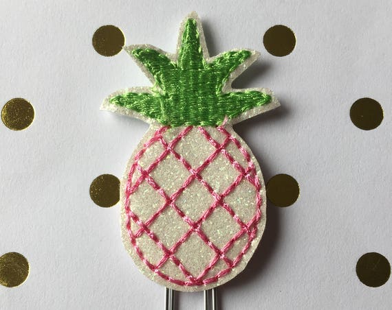 Glitter Pineapple with pink stitching planner Clip/Planner Clip/Bookmark. Pineapple paper clip. Pineapple planner clip. Glitter planner clip