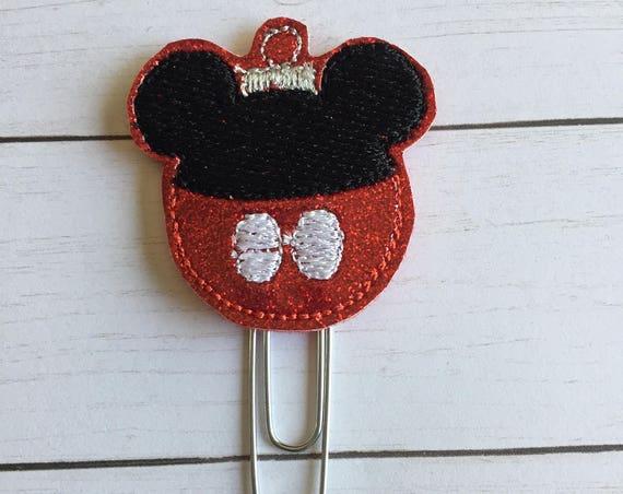 Boy Mouse Ornament planner Clip/Planner Clip/Bookmark. Christmas planner clip. Holiday planner clip. mouse planner clip.Ornament clip