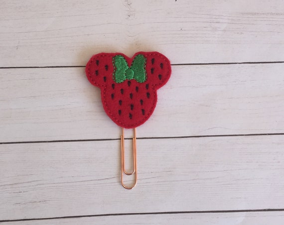 Mouse Strawberry Planner Clip. Strawberry Planner Clip. Mouse Planner Clip. Food Planner Clip. Fruit Planner Clip. Summer Planner Clip