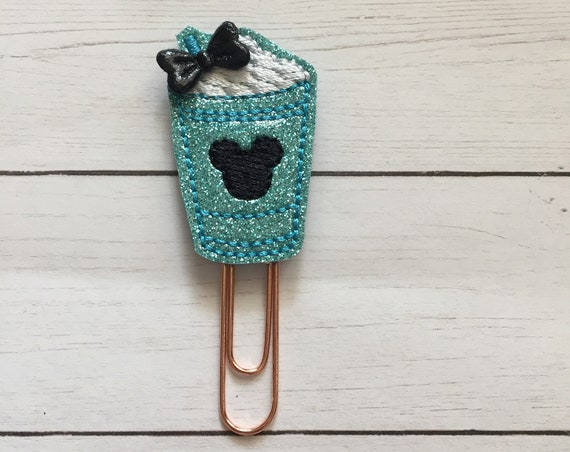 Teal Glitter Mouse Frappucino planner Clip/Planner Clip/Bookmark. Coffee planner clip. Mouse planner clip. Glitter planner clip.