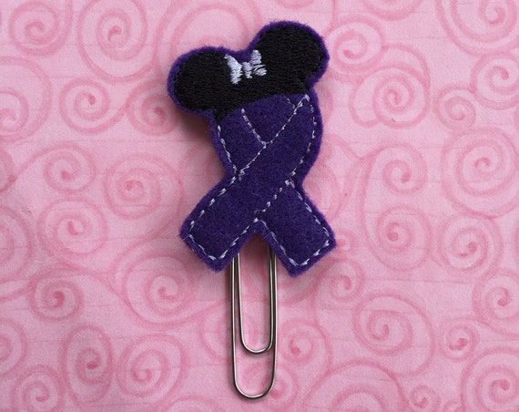 Miss Mouse Purple Awareness Ribbon Clip/Planner Clip/Bookmark. Awareness Planner Clip. Ribbon Planner Clip. Mouse Planner Clip