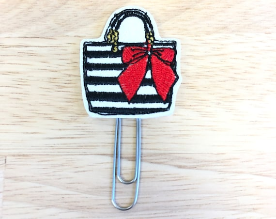 Glitter Vinyl Purse With Red Bow Planner Clip/Planner Clip/Bookmark. Fashion Planner Clip. Bag Planner Clip. Purse Planner Clip