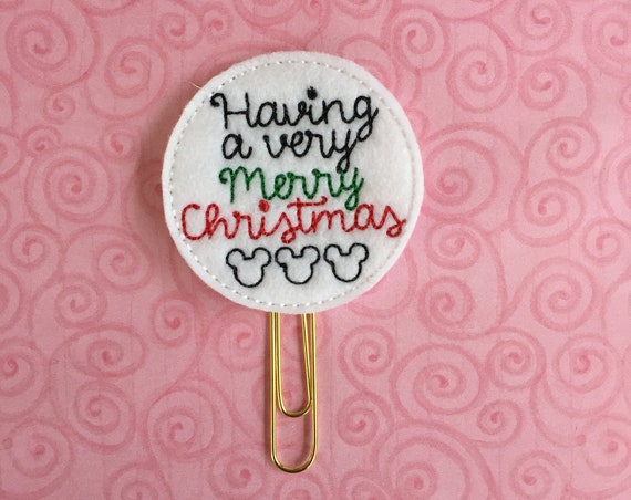 Having A Very Merry Christmas Mouse Clip/Planner Clip/Bookmark. Mouse Planner Clip. Christmas planner clip.