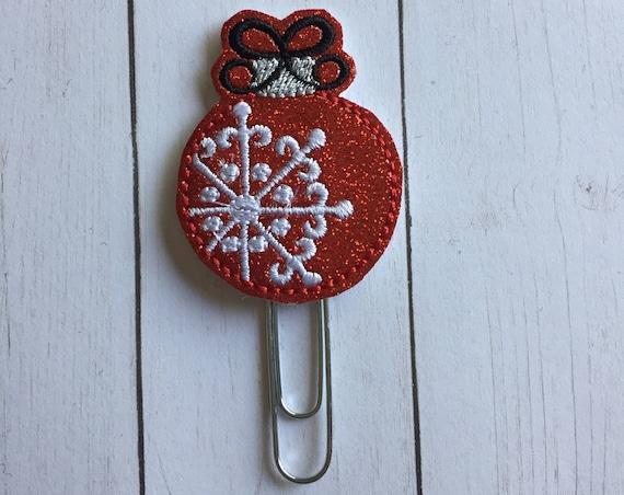 Glitter Ornament planner Clip. Red Ornament Planner Clip. Ornament Planner Clip. Holiday planner clip. Christmas planner clip. Planner clip
