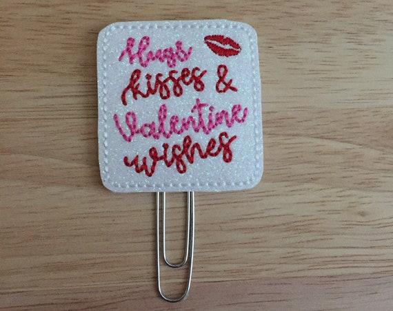 Hugs, Kisses & Valentine Wishes Clip/Planner Clip/Bookmark. Valentine Planner Clip. Kiss Planner Clip. Love Planner Clip. Glitter Planner