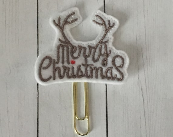 Merry Christmas Antlers Planner Clip. Christmas Planner Clip. Antler Planner Clip. Deer Planner Clip. Holiday Planner Clip. Merry Christmas