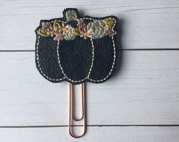Black Floral Pumpkin planner Clip/Planner Clip/Bookmark. Pumpkin planner clip. fall planner clip. autumn planner clip. Floral Pumpkin Clip