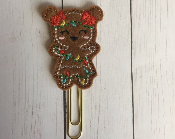 Gingerbread Girl with Lights planner Clip/Planner Clip/Bookmark. Gingerbread Planner Clip. Christmas light planner clip. Lights planner clip